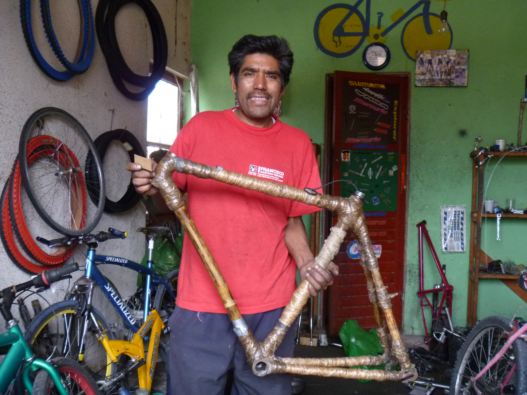 The patched and stripped frame as we left it in San Cristobal, ready to be turned into a bicycle blender!