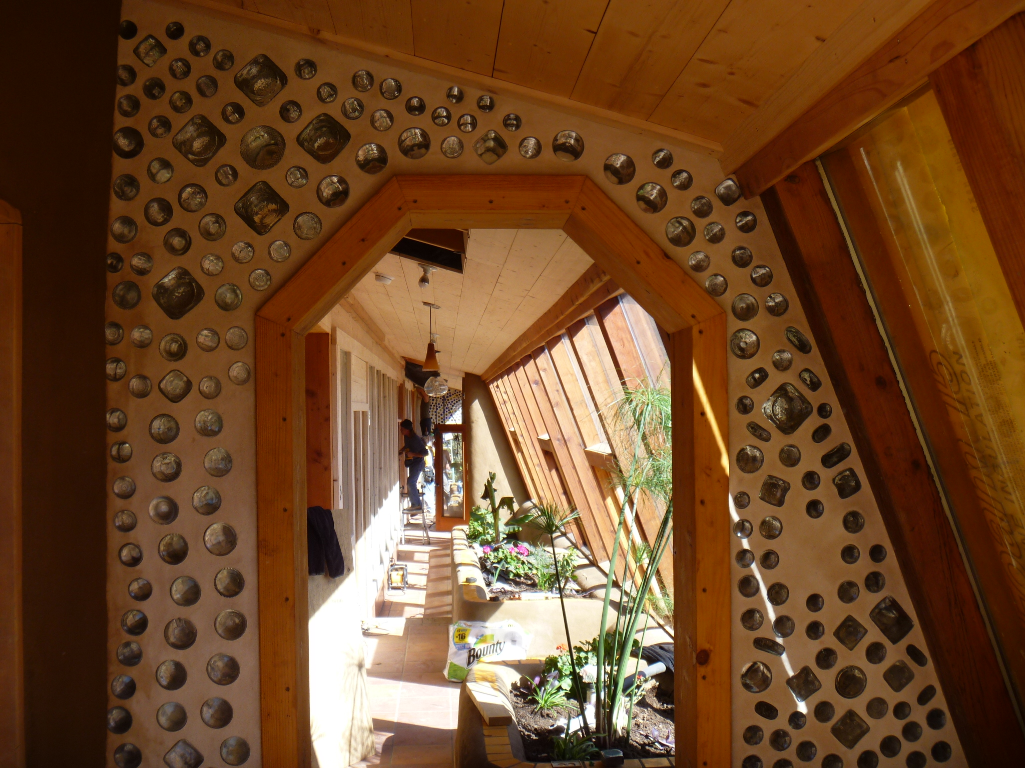 Look into the greenhouse of earthship at Pataca, New Mexico