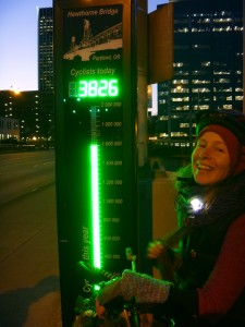 Nico and the cyclist meter on the Hawthorn bridge in Portland!