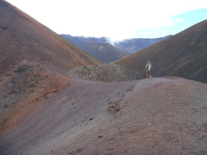 Hiking across volcanic crater, Maui, Hawaii, USA